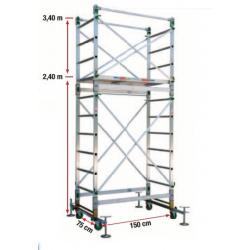 Echafaudage roulant aluminium PRC24 width=