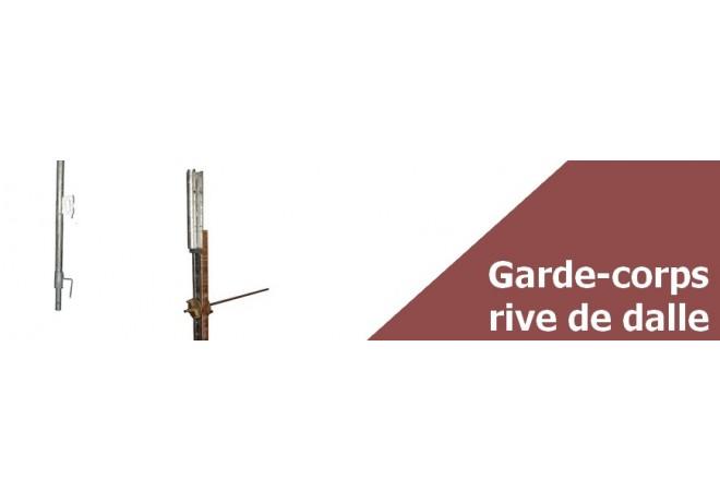 Garde corps rive de dalle - Lot complet avec tige et écrous